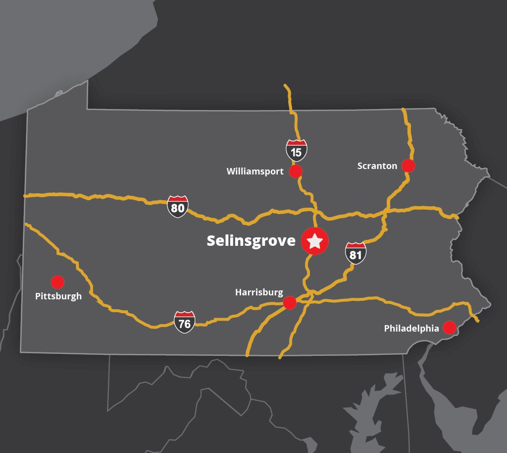 Map to find Selinsgrove